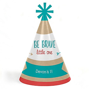 Be Brave Little One - Personalized Cone Boho Tribal Happy Birthday Party Hats for Kids and Adults - Set of 8 (Standard Size)