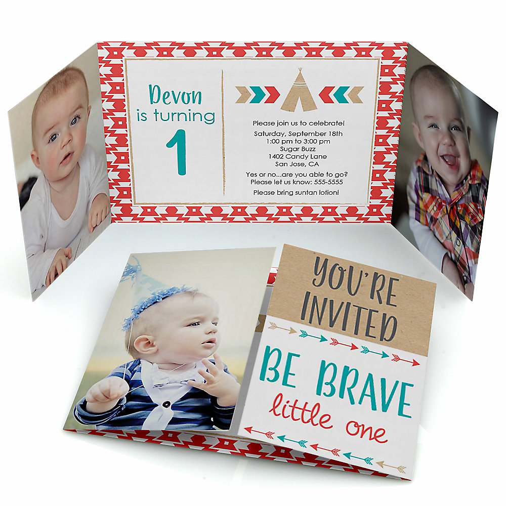 Be brave little one birthday partytheme bigdotofhappiness be brave little one boho tribal personalized birthday party photo invitations set of 12 filmwisefo