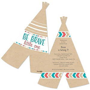 Be Brave Little One - Boho Tribal - Shaped Birthday Party Invitations - Set of 12