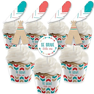 Be Brave Little One - Cupcake Decoration - Boho Tribal Baby Shower or Birthday Party Cupcake Wrappers and Treat Picks Kit - Set of 24