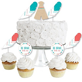 Be Brave Little One - Dessert Cupcake Toppers - Boho Tribal Baby Shower or Birthday Party Clear Treat Picks - Set of 24