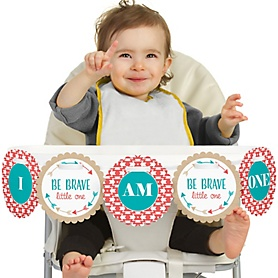 Be Brave Little One 1st Birthday - I am One - First Birthday High Chair Banner