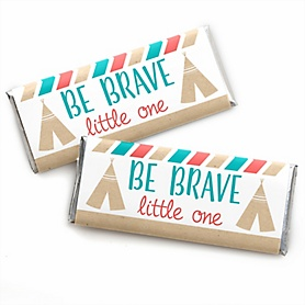 Be Brave Little One - Boho Tribal - Personalized Candy Bar Wrappers Baby Shower or Birthday Party Favors - Set of 24