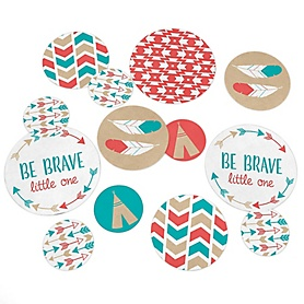 Be Brave Little One - Baby Shower or Birthday Party Giant Circle Confetti - Party Decorations - Large Confetti 27 Count