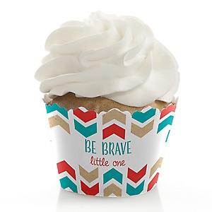 Be Brave Little One - Baby Shower or Birthday Decorations - Party Cupcake Wrappers - Set of 12