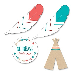 Be Brave Little One - DIY Shaped Baby Shower or Birthday Party Paper Cut-Outs - 24 ct