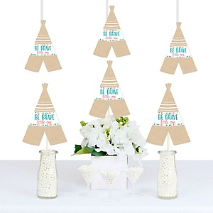 Be Brave Little One - Teepee Shaped Decorations - DIY Baby Shower or Birthday Party Essentials - Set of 20