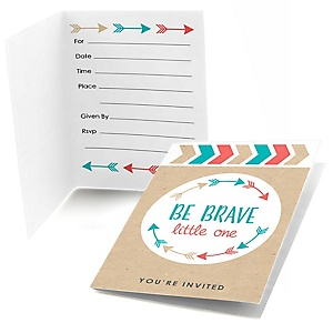 Be Brave Little One - Fill in Baby Shower or Birthday Party Invitations - 8 ct