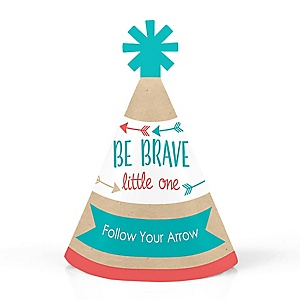 Be Brave Little One - Personalized Mini Cone Baby Shower or Birthday Party Hats - Small Little Party Hats - Set of 10