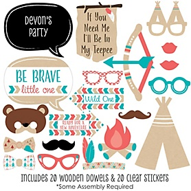 Be Brave Little One - 20 Piece Photo Booth Props Kit