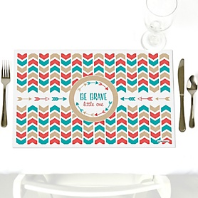 Be Brave Little One - Party Table Decorations - Baby Shower or Birthday Party Placemats - Set of 12