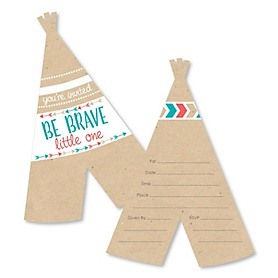 Be Brave Little One - Shaped Fill-In Invitations - Boho Tribal Baby Shower or Birthday Party Invitation Cards with Envelopes - Set of 12