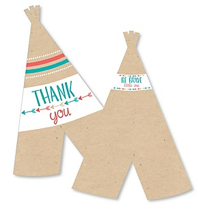 Be Brave Little One - Shaped Thank You Cards - Boho Tribal Baby Shower or Birthday Party Thank You Note Cards with Envelopes - Set of 12