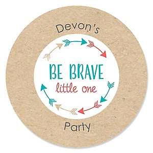Be Brave Little One - Personalized Baby Shower or Birthday Party Sticker Labels - 24 ct