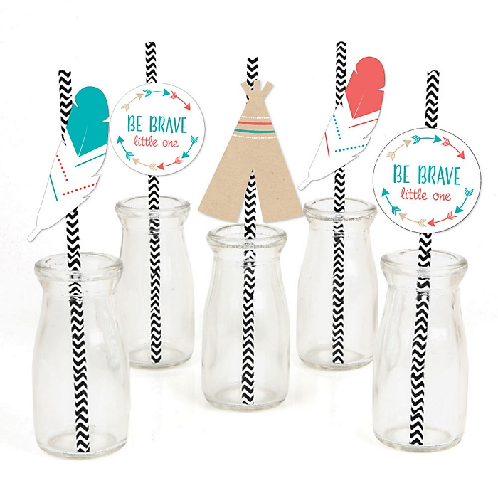 Be Brave Little One - Paper Straw Decor - Baby Shower or Birthday Party Striped Decorative Straws - Set of 24
