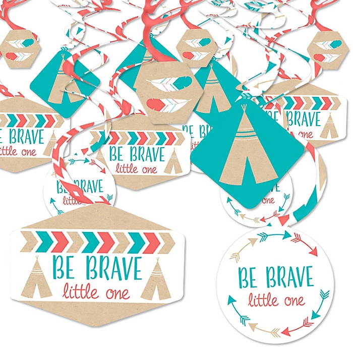 Be Brave Little One - Boho Tribal Baby Shower or Birthday Party Hanging Decor - Party Decoration Swirls - Set of 40