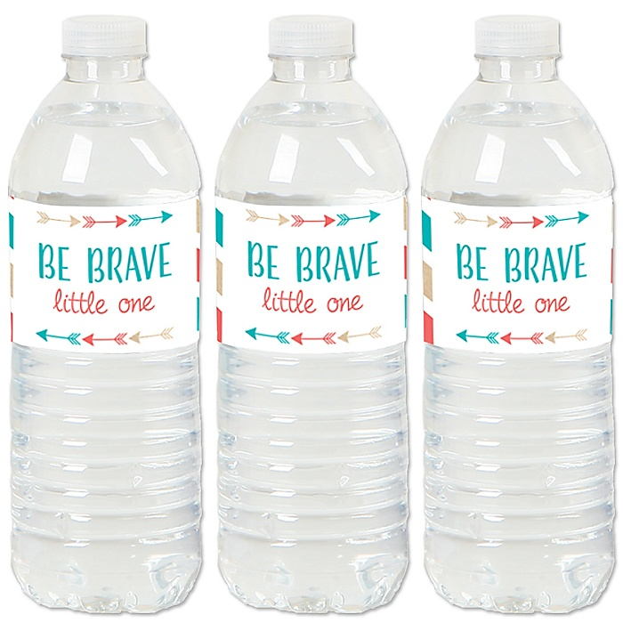 Be Brave Little One - Boho Tribal Baby Shower or Birthday Party Water Bottle Sticker Labels - Set of 20