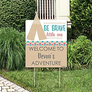 Be Brave Little One - Party Decorations - Birthday Party or Baby Shower Personalized Welcome Yard Sign