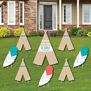 Be Brave Little One - Yard Sign & Outdoor Lawn Decorations - Boho Tribal Baby Shower or Birthday Party Yard Signs - Set of 8