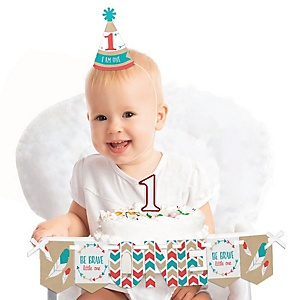 Be Brave Little One 1st Birthday - First Birthday Boy or Girl Smash Cake Decorating Kit - High Chair Decorations