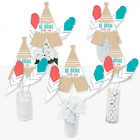 Be Brave Little One - Boho Tribal Baby Shower or Birthday Party Centerpiece Sticks - Table Toppers - Set of 15