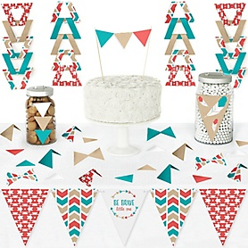 Be Brave Little One - DIY Pennant Banner Decorations - Boho Tribal Baby Shower or Birthday Party Triangle Kit - 99 Pieces