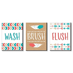 Be Brave Little One - Kids Bathroom Rules Wall Art - 7.5 x 10 inches - Set of 3 Signs - Wash, Brush, Flush
