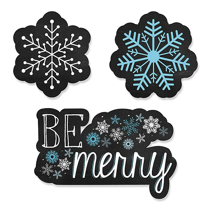 Be Merry - DIY Shaped Snowflake Holiday & Merry Christmas Party Paper Cut-Outs - 24 ct