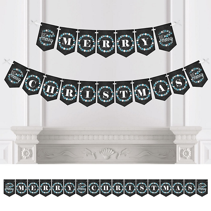 Be Merry - Personalized Snowflake Holiday & Merry Christmas Party Bunting Banner & Decorations