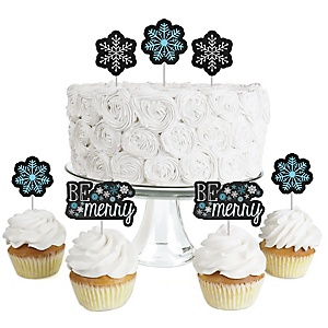 Be Merry - Dessert Cupcake Toppers - Holiday & Christmas Party Clear Treat Picks - Set of 24