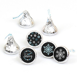 Be Merry - Round Candy Labels Snowflake Holiday & Merry Christmas Party Favors - Fits Hershey Kisses - 108 ct
