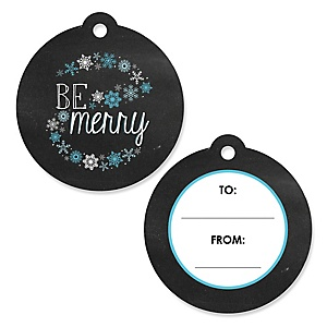 Be Merry - Snowflake Holiday & Merry Christmas Party To and From Favor Gift Tags - Set of 20