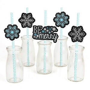 Be Merry - Paper Straw Decor - Snowflake Holiday & Merry Christmas Party Striped Decorative Straws - Set of 24