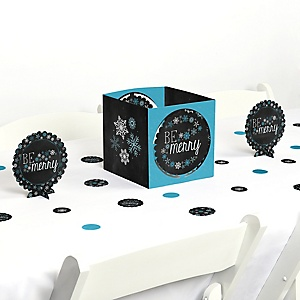 Be Merry - Snowflake Holiday & Merry Christmas Party Centerpiece and Table Decoration Kit