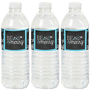 Be Merry - Snowflake Holiday & Merry Christmas Party Water Bottle Sticker Labels - Set of 20