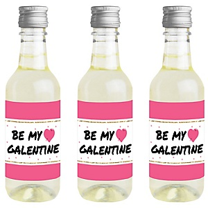 Be My Galentine - Mini Wine and Champagne Bottle Label Stickers - Galentine's & Valentine's Day Party Favor Gift for Women and Men - Set of 16