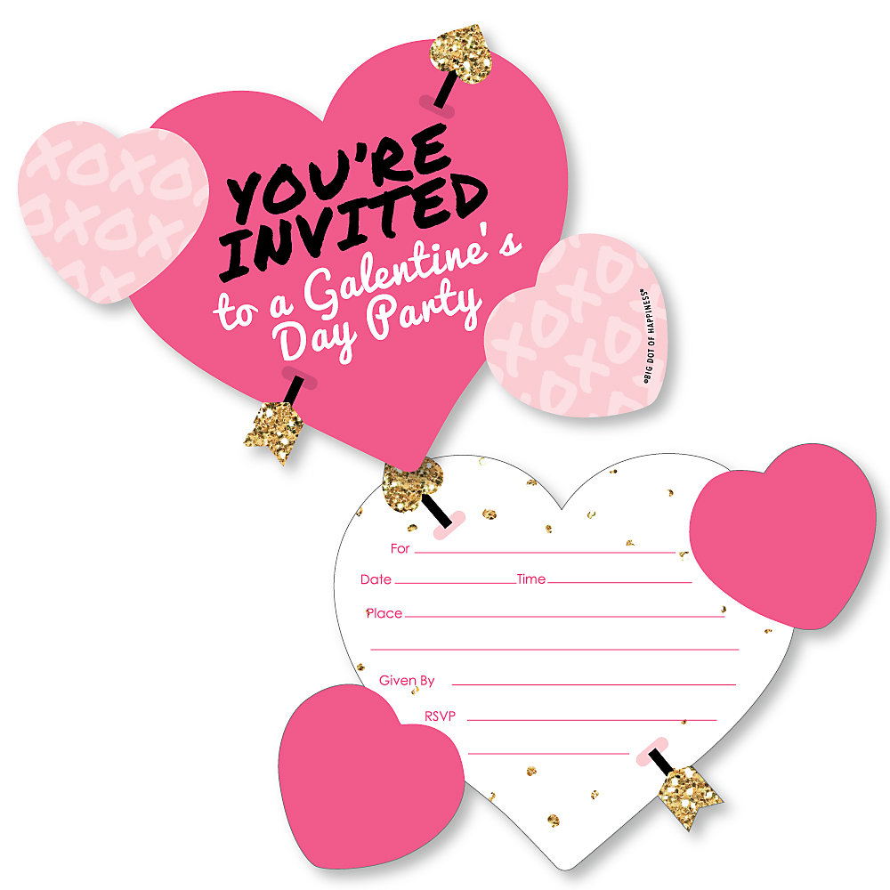 Be My Galentine Shaped Fill In Invitations Galentine S Valentine S Day Party Invitation Cards With Envelopes Set Of 12