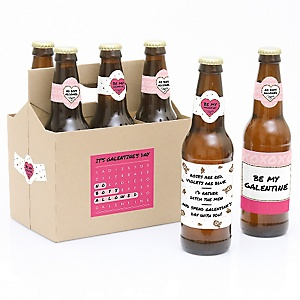 Be My Galentine - Valentine's Day - Decorations for Women and Men - 6 Beer Bottle Labels and 1 Carrier