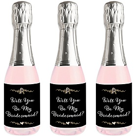 Best Day Ever - Mini Wine and Champagne Bottle Label Stickers - Will You Be My Bridesmaid Gift - Set of 16