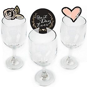 Best Day Ever - Shaped Bridal Shower Wine Glass Markers - Set of 24