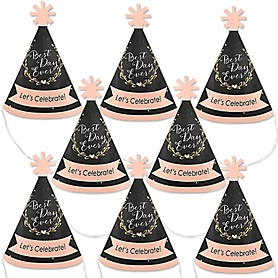 Best Day Ever - Mini Cone Bridal Shower Party Hats - Small Little Party Hats - Set of 8