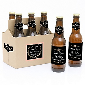 Best Day Ever - Decorations for Women - 6 Will You Be My Bridesmaid Beer Bottle Label Stickers and 1 Carrier