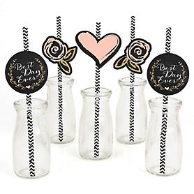 Best Day Ever - Paper Straw Decor - Bridal Shower Striped Decorative Straws - Set of 24