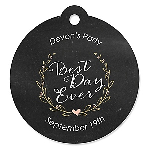 Best Day Ever - Round Personalized Bridal Shower Tags - 20 ct