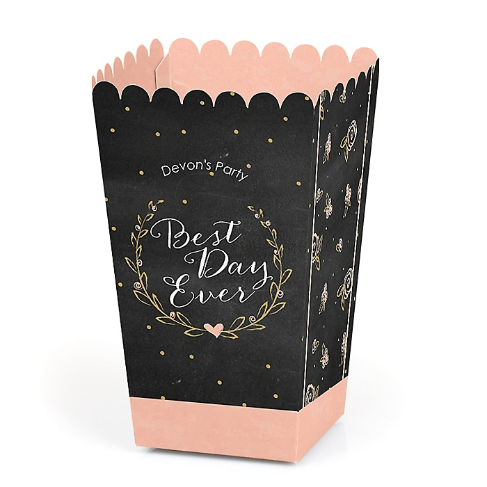 Best Day Ever - Personalized Bridal Shower Popcorn Favor Treat Boxes - Set of 12