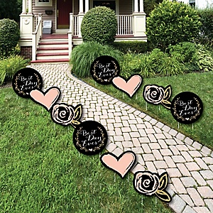 Best Day Ever - Heart and Flower Lawn Decorations - Outdoor Bridal Shower or Birthday Party Yard Decorations - 10 Piece