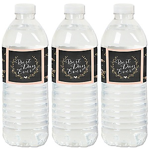 Best Day Ever - Wedding or Bridal Shower Water Bottle Sticker Labels - Set of 20