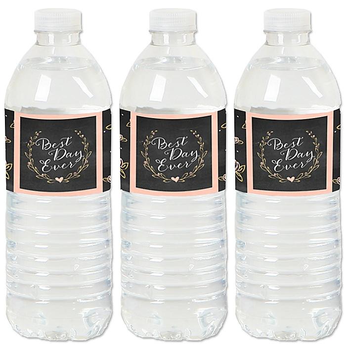 Best Day Ever - Wedding or Bridal Shower Water Bottle Sticker Labels - Set of 20