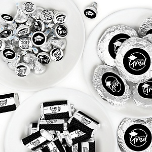 Black and White Grad - Best is Yet to Come - Mini Candy Bar Wrappers, Round Candy Stickers and Circle Stickers - 2019 Black and White Graduation Party Candy Favor Sticker Kit - 304 Pieces