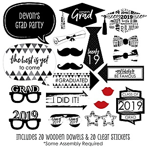 Black and White Grad - Best is Yet to Come - 20 Piece 2019 Graduation Party Photo Booth Props Kit